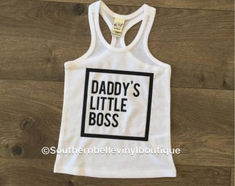 Daddy's little boss , baby racerback , baby tank top , monochrome , toddler racerback , toddler tank top , daddy's girl , love daddy