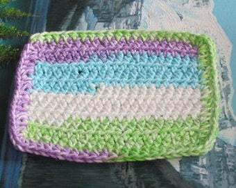 Hand crochet cotton dish cloth 6.5 by 6.5 cdc 112
