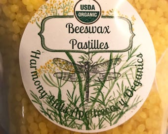 Organic BEESWAX PASTILLES, Pellets, you choose amount. Pure yellow beeswax pastilles for cosmetics, balms, salves, lip balms, candles, more!