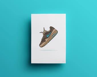 Nike Air Max 1 Premium 'Ridgerock' Illustrated Poster Print | A6 A5 A4 A3