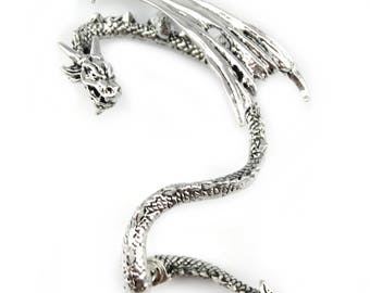 Dragon Ear Cuff | inspired by Game of Thrones | made of high Quality Silver-Tone Alloy | Khaleesi Dothraki Khalasar Fantasy HBO TV Show
