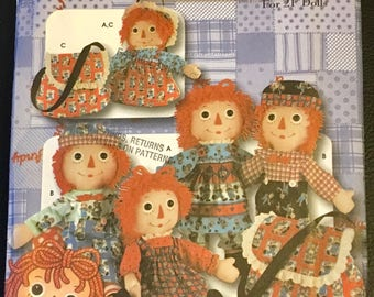 "Simplicity Sewing Pattern 5868 Raggedy Ann And Andy Doll  21 "" Clothes Dress Pants Pinafore Bodice Pants Hat Tote  New Uncut FF"