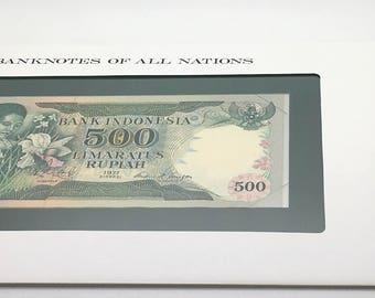 Banknotes Of All Nations Indonesia 1977  500 Rupiah  Pick 117 GEM UNC  Franklin Mint Paper Money Souvenir Scrapbook Scrapbooking