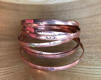 Set of Seven Copper Bangle Bracelets