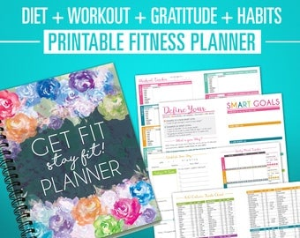 Printable Fitness Journal - Nutrition, Weight Loss & Workout Planner - A5 + Letter Size PDF - Diet, Fitness, Exercise Planner Diary