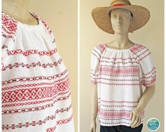 Folk Embroidery Print Top, 70s Ethnic Linen Graphic Print Top, Vintage White Red Black Puff Short Sleeve Top, Small Medium Oversized