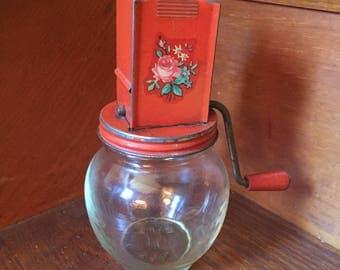 Nut Grinder Jar - Red with Floral Decal and Wooden Turn Crank, Vintage
