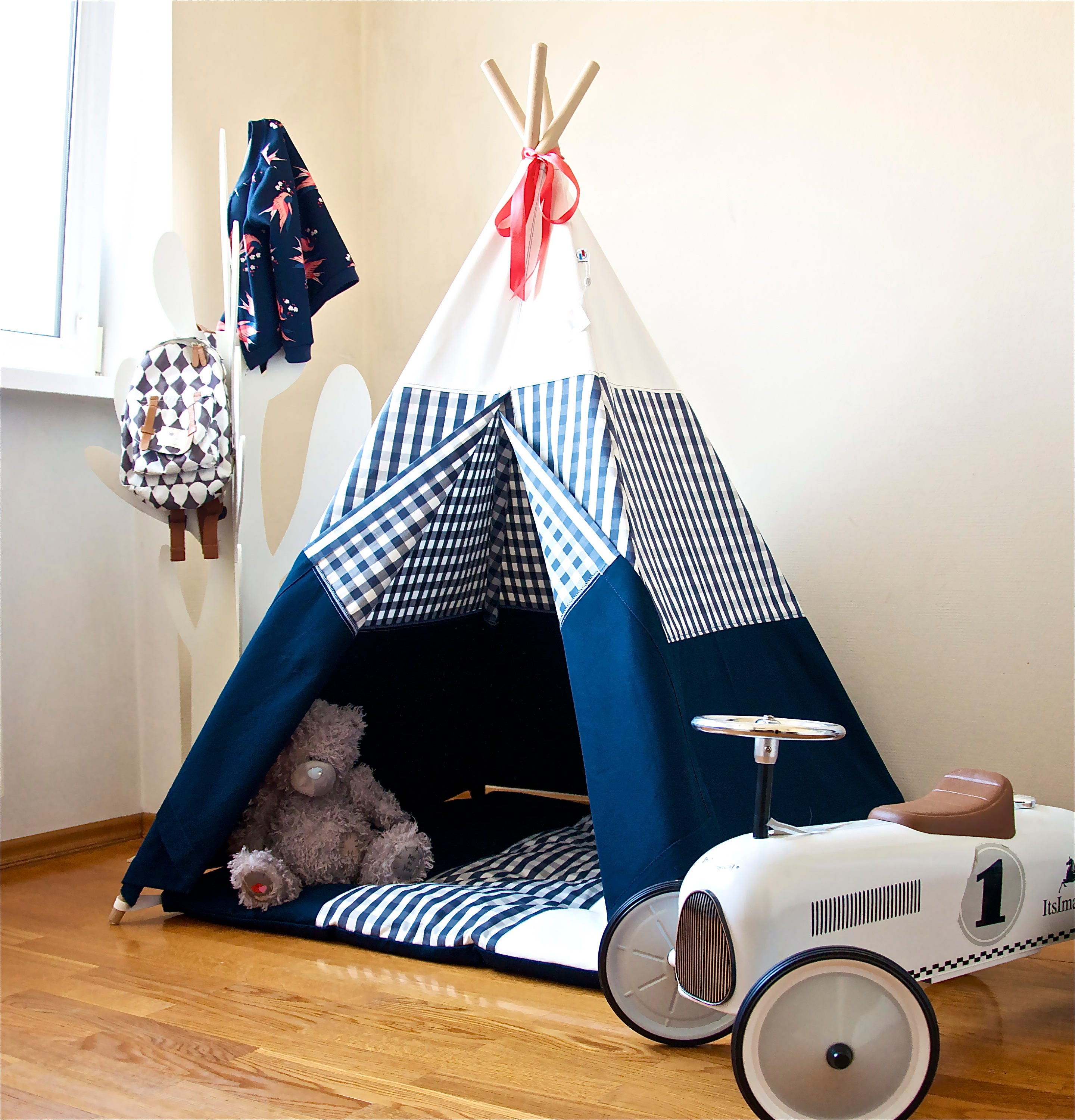 Design Childrens Teepee navy blue teepee childrens kids play tent details this canvas teepee
