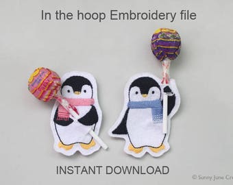 ITH In-the-hoop penguin candy holder- machine embroidery file instant download