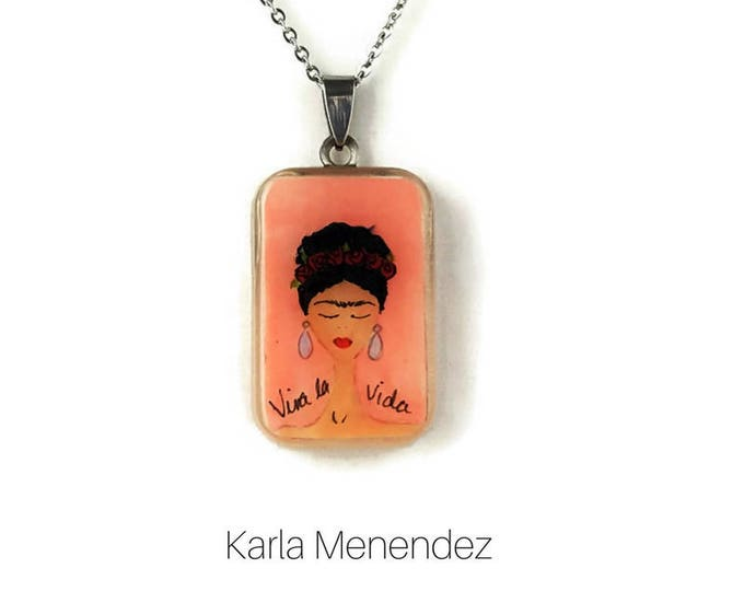 Pink Frida Kahlo pendant necklace