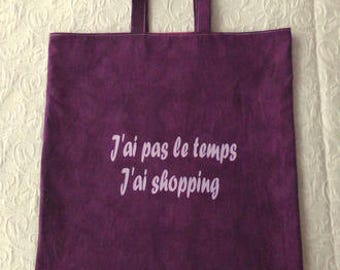 Tote bag purple lettering