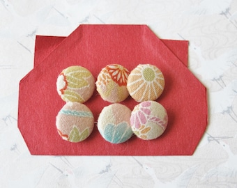 6 fabric buttons pink Japanese cherry blossoms, 15 mm diam.