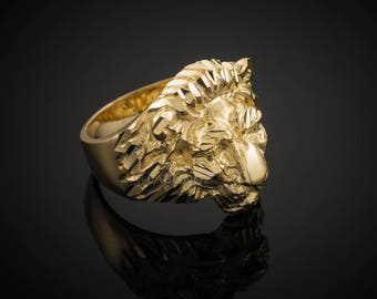 Solid Gold Lion Head Mens Ring (yellow, white, rose gold, 10k, 14k)