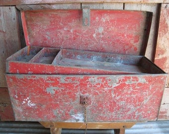Vintage Chippy Red Paint Tool Chest Tackle Box Galvanized Industrial Storage w/Handle Primitive Closure