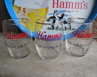 Three Vintage Mid Century Hamm's Beer Bar Glasses Gold Rims Small Barrell Shape 6 oz. Taster Chaser Barware