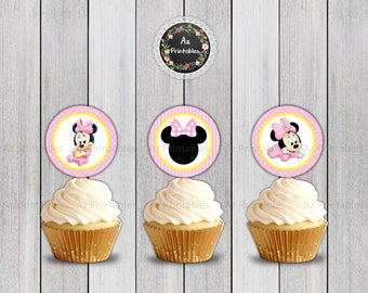 Baby Minnie Mouse,instant download,  light, pink, polka dots, Printable, cupcake topper, tag, elegant, digital print, baby, Minnie mouse