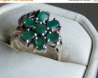 ON SALE Classy Emerald Marcasite Silver Ring