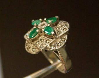 ON SALE Stunning Emerald, Marcasite Silver Ring