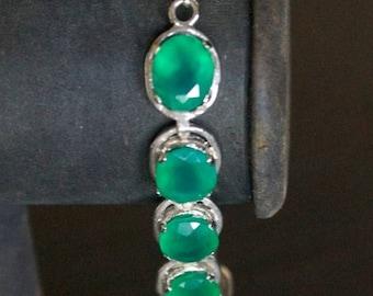 ON SALE Elegant Green Onyx Silver Bracelet