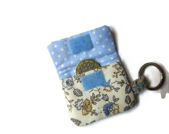 clutch bag, pouch for token caddy, key chain, flowers blue beige polka dots