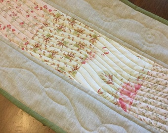 Pastel flowers table runner, pink, cream, green table decor
