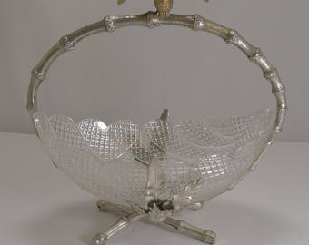 Finest Quality English Cut Crystal and Silver Plate Dish / Basket c.1880