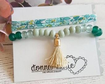 Liberty Bracelet - Tassle Bracelet - Beaded Bracelet - Friendship Bracelet - Bracelet Set - Liberty Wrap - Lampwork Bracelet - Elasticated