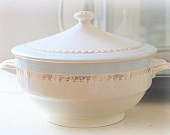 Vintage Digoin & Sarreguemines 'Monique' Serving Bowl with Lid, Light Blue and Gold Decor, France