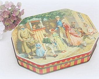 Vintage Punch & Judy Tin Litho Box, Thornes Toffee, Decorative Kitchen Storage, Dickensian Decor, Edwardian