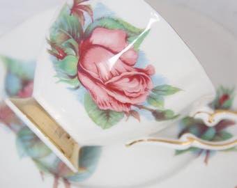 Vintage Paragon Tea Trio, Cup and Saucer and Pastry Plate, Rendezvouz, Six World Famous Roses, Signed by Harry Wheatcroft