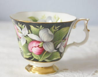 Vintage Royal Albert Provincial Flower Series Gentleman Size Cup , 'Lady's Slipper', Replacement