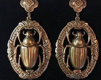 Large antiqued brass scarab beetle earrings