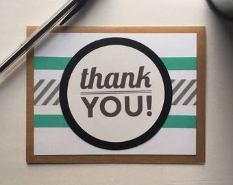 Thank You Card | Blank Thank You Card | Modern Thank You Card | Teal & Black