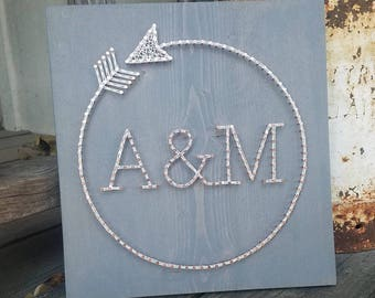 Circle Arrow w/ Monogram / Monogram Sign / Wedding Gift / Anniversary Gift