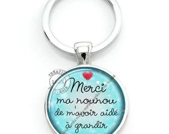 Keychain cabochon thank you for a nanny for helping me grow