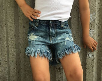 4T Frayed High Waisted Girl Custom Distressed Shorts
