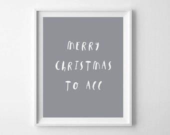 Christmas Printable, Printable Art, Merry Christmas To All Print, Christmas Prints, Scandinavian Prints, Christmas Decor, Christmas Wall Art
