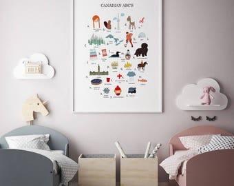 Canadian ABC Print, Canadian Print, ABC Print, Canadian Wall Art, Canadian Kids Decor, Canadian Decor, ABC Wall Art, Nursery Wall Art