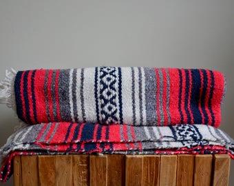 Vintage Mexican Blanket | BOHO Bohemian Festival Beach Blanket | Ethnic Tribal Southwestern Red Black Grey and White Mexican Throw Blanket