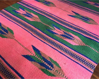 1990s 1980s Pink Southwestern Tapestry Rug Carpet Wall Hanging unique colors rare