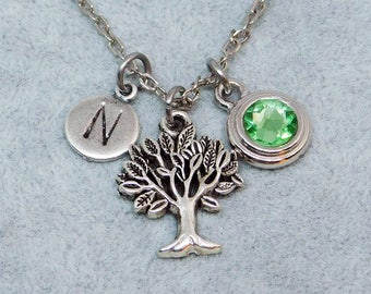 Tree of Life necklace, swarovski birthstone, initial necklace, birthstone necklace, initial charm