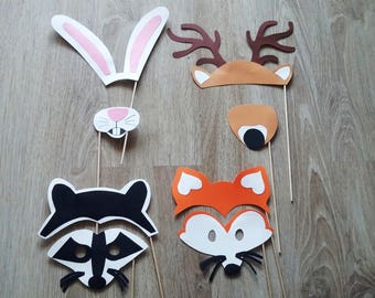 Accessories photobooth Fox, deer, rabbit, raccoon