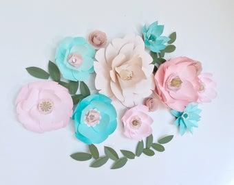 Paper flowers wall decor, nursery room wall decor, large mint paper flowers, giant paper flowers, teal / mint / pink paper flower wall decor