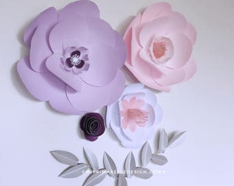 Lavender paper flowers, wall decor, baby girl nursery decor, girl kid bedroom, newborn photo shoot props, wedding flower backdrop,