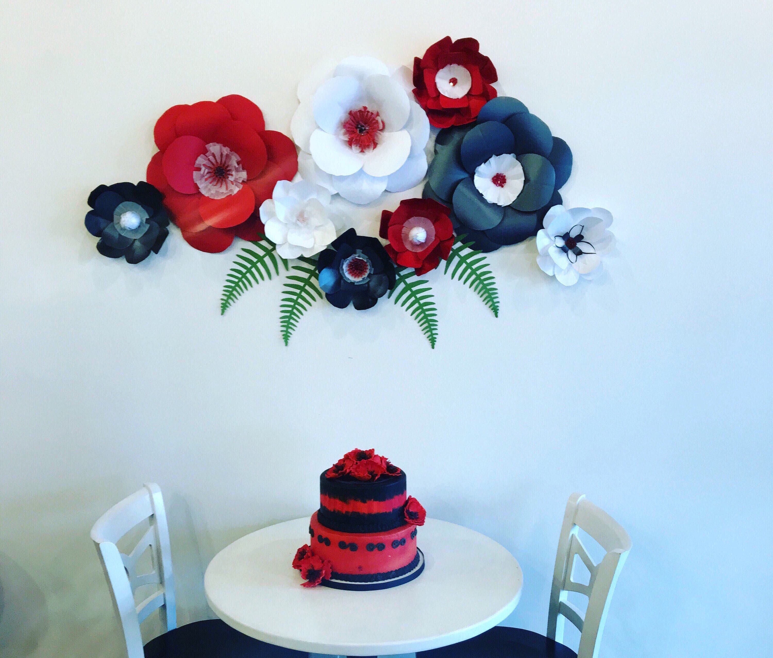 Paper flowers red wall decor black paper flowers red paper flowers ...