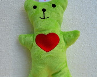embroidered with attached pacifier and loud Bell green Teddy bear rattle has Interior