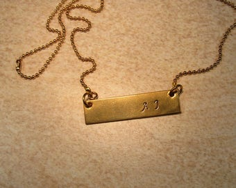 NuGold Bar necklace, Bar necklace, Initial Necklace