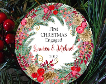 Engaged Couple personalized ornament, Couple first  christmas ornament, Engaged christmas ornament, newlywed ornament,