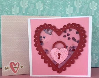 Valentine's Day Shaker Card • Heart Card • I Love You Card • Key to my Heart • For Boyfriend • For Girlfriend  • Heart Day