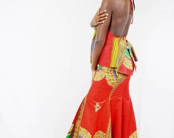 Collette Red Angelina African Wax Trumpet Skirt and Tiffany Halter Top, Long Dashiki Skirt - One of a kind